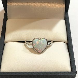 Jewelry - Ladies Sterling Silver Opal Heart Ring